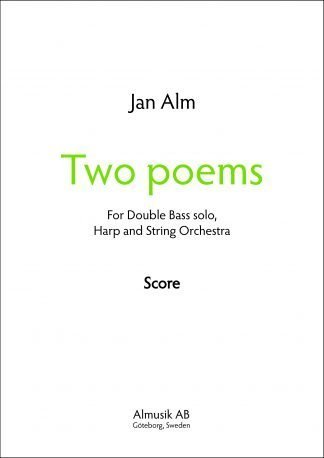 Cover Two Poems by Jan Alm, Score and parts